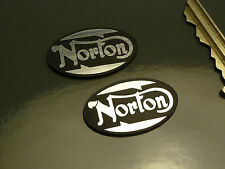 NORTON Oval Style Self Adhesive Motorcycle Body BADGES 30mm Pair Bike Commando
