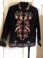 AVANTI Suede Leather JACKET COAT Embroidered BIRDS OF PARADISE Black & Colors S