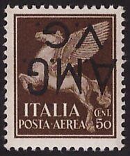 AMG VG- 1945 POSTA AEREA -50 c. n. 1b VARIETA' Certificato FERRARIO € 140