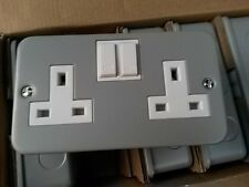 5 X Acel metalclad Double switched sockets 13amp Top Quality by GET UK
