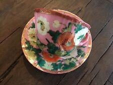 Antique Meiji Japanese Kutani Tea Cup & Saucer Set Dai Nippon Pink w Poppies