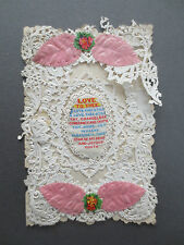 ANTIQUE PAPER LACE VALENTINE CARD Woven Silk Message Love to Thee Still OLD