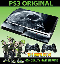PLAYSTATION PS3 SMOKEY TÊTE DE MORT DARK TYPE GOTHIC BONES SKIN & 2 PAD STICKERS
