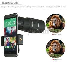 16x52 HD Optical Monocular Outdoor Camping Hiking Telescope + Phone Clip Holder