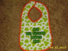 "PARENTS CHOICE CUTE COW GREEN SPOT PATTERN BIB ""MY BIG SISTER LOVES ME"""