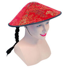 #MANDARIN CHINESE KUNG FU COOLIE RED FABRIC HAT + PLAIT FANCY DRESS ACCESSORIES
