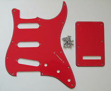 New Color Red 3 Ply ST Strat Style SSS Guitar Pickguard Back Plate Trem Cover