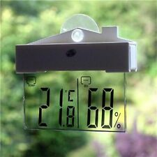 Digital Transparent Display Thermometer Hydrometer Indoor Outdoor W/ Suction Cup