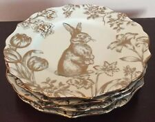 222 FIFTH BUNNY HILL PASTEL GREEN GOLD EASTER/SPRING SET (4) SALAD PLATES NEW!