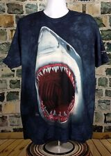 Classic SHARK Print on Dark Blue TIE DYE T-Shirt - XL - The Mountain Brand