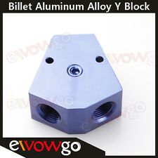 """1/2'' In 3/8'' Out Female Y-Block Fitting With 1/8"""" NPT Gauge Port Blue"""