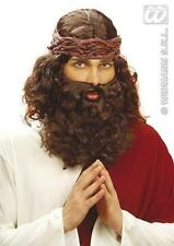 Mens Brown Jesus Wig & Beard Set Kit Hippy Hippie Religious Fancy Dress