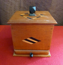Vintage Inlaid Wooden Cigarette Box with Drawer