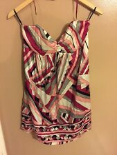 Bebe Dress, Multi-colored, Tube Top, Halter Strap
