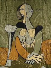"""Vintage Picasso Abstract Lady Cubist 100%  Silk Scarf 34"""" X 34"""""""