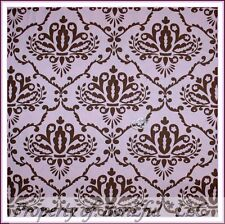 BonEful FABRIC Cotton Quilt  Baby Girl Pink Brown Flower Damask Toile FQ L SCRAP