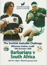 BARBARIANS v SOUTH AFRICA 2000 RUGBY PROGRAMM