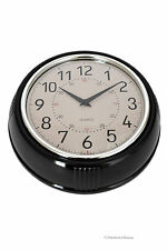 Small Retro 1950's-Style Quartz Black Designer Kitchen Wall Clock Diner Decor