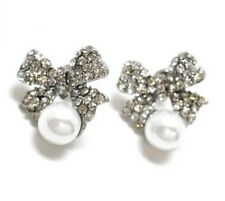 Crystal Bow & Pearl Bead Sparkly Stud Earrings