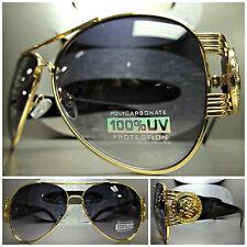 CLASSIC OVERSIZE VINTAGE HIP HOP RAPPER Aviator SUN GLASSES Gold & Black Frame