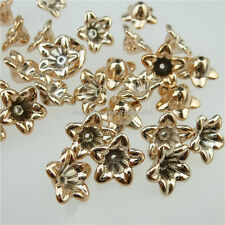 13035 100PCS Plastic Rose Gold Flower Spacer Beads Cap Charms Jewelry Making