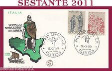ITALIA FDC FILAGRANO 1974 NORMANNI IN SICILIA ANNULLO MILANO G540