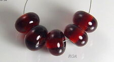 ROA Lampwork 5 Transparent Dark Amber 016 Handmade Art Glass Spacer Beads SRA