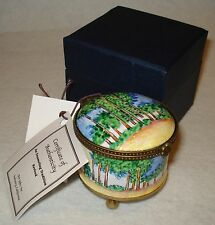 KELVIN CHEN Enamel STAMP HINGED BOX The Poplars Monet Style ES0011