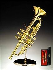 Miniature Musical Instrument -Miniature Trumpet 4.5 Inch W/ Stand & Case (CGTR)