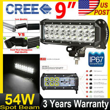 "9""inch 54W CREE LED Work Light Bar Spot Beam Offroad Fit For Pickup Jeep 4x4 ATV"