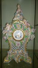 Impressive French Antique Vion & Baury Porcelain Figural Clock - Green Anchor