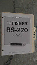 Fisher rs-220 service manual original repair book stereo receiver tuner radio