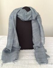 BRAND NEW - 100% Raw Silk Scarf - BLUE GREY