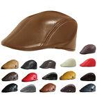 Mens Womens Leather Ivy Cap Bunnet, Newsboy Beret Cabbie Gatsby Flat Golf Hat