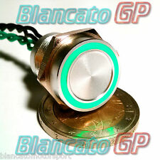 PULSANTE PIEZOELETTRICO 16mm LED VERDE 12V auto moto piezo switch interruttore