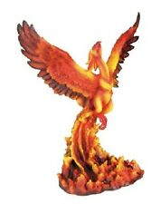 Fiery Phoenix Rising Over Pit of Flames Figurine Statue Mythical Bird Fantasy
