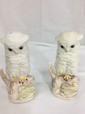 Set of 2 Cybis Figurine Baby Snowy Owl on Branch