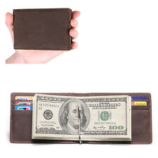 Genuine Mens Real Leather Thin Wallet with Metal Money Clip Credit Card ID Case