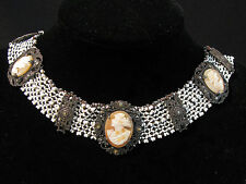 Antique VICTORIAN CARVED SHELL CAMEO, BEAD & MARCASITE NECKLACE