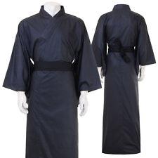 Japan Herren Yukata Kimono Obi Samurai Morgenmantel Haori Baumwolle Schwarz