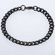 3mm Curb Link Mens Boys Chain Black Tone Stainless Steel Bracelet 8 inch