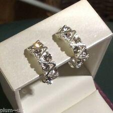 Y91 Plum UK silver / white gold pltd clip on earrings with white crystals BOXED