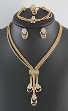 Snake Chain Rhinestone Crystal Gold Plated Necklace Bracelet Ring Jewelry Set