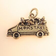 .925 Sterling Silver MOM'S TAXI CHARM NEW Pendant Car Van SUV Mother 925 VH17