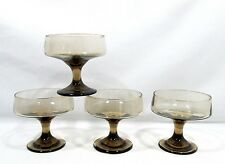 4 Libbey Glass TAWNY ACCENT Brown Champagne Goblets/Sherbets-Set of Four (dn-ok)