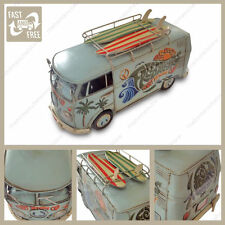 VW Split Screen Camper Van Kombi With Surf Boards Surfer Dude Tin Plate Model