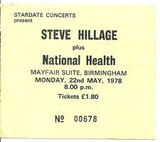 RARE / TICKET CONCERT - STEVE HILLAGE : LIVE AT BIRMINGHAM ( UK ) 1978