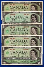5 CANADA 1867 1967 Canadian CENTENNIAL one 1 DOLLAR BILLS NOTES EF