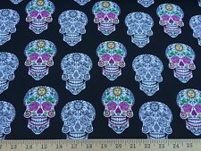 """Sugar Candy Skull By Fabric Traditions 100% Cotton Fabric 44"""" Wide By The Yard"""
