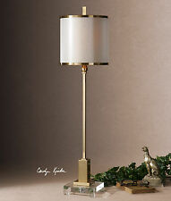 """35"""" LARGE PLATED BRUSHED BRASS TABLE LAMP CRYSTAL FOOT LINEN SHADE READING LIGHT"""